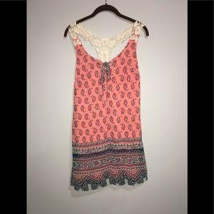 Pink & Blue Boho Paisley XS Beach Cover Up / Dress